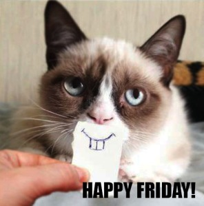 Grumpy cat is happy on friday