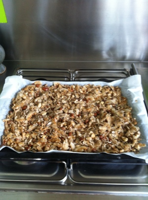 'Coco-nutty granola'  Coconut flakes, nuts, cinnamon and coconut oil.